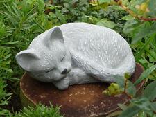 Steinfigur Gartenfigur Katze groß hellgrau