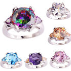 Women Round Heart Rainbow Amethyst Topaz Gemstone Silver Ring Size 6 7 8 9 10 11