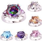Women Round Heart Rainbow Amethyst Topaz Gemstone Silver Ring Size 6 7 8 9 10 11