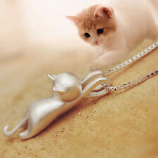Women Lovely 925 Silver Cat Kitty Silver Pendant Charm Chain Necklace