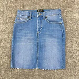 Bardot Womens Skirt Size 6 Blue Denim Mini A-Line Stretch Cut-Off 240.20
