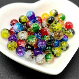 50pcs Double Colored Cracked Beads 8mm Spacer Bead Charms Jewelry Making Supplie