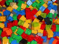 60x Lego Duplo Bausteine, Bunt gemischt 2x2 Noppen # GEWASCHEN #