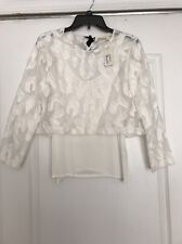 Maje White Lace Embroidered Lendra Top T1 Sz1 NWT $295