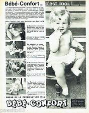 PUBLICITE ADVERTISING 026  1965  Bébé-Confort   le bambinid  siège bébé