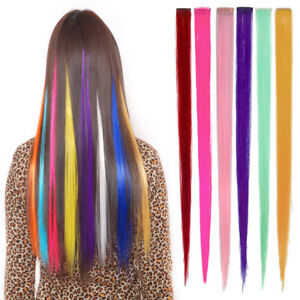 Clip On In Colorful Hair Extensions Coloured Synthetic Long Hair Party Clips DIY
