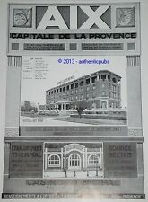 PUBLICITE DE 1929 HOTEL DU ROY RENE AIX EN PROVENCE FRENCH ORIGINAL AD