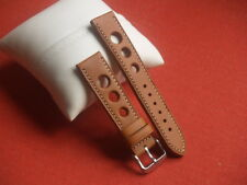 20mm TAN LEATHER GRAND PRIX WITH WHITE STITCHING WATCH STRAP SS