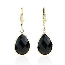 14K Yellow Gold Fancy Cut Pear Shaped Black Onyx Dangling Earrings