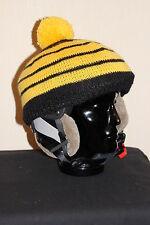 Skihelmmütze - Unikat (Wintermütze, Skimütze,schwarz-gelb)