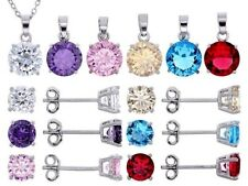 12 Pc Multi Colored Gemstones Birthstones Rhodium Plated Earring Necklace 6 Sets