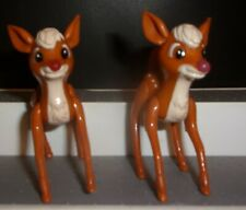 """Disney Rudoplh Reindeer Poseable Lot Of 2 Brown W/ Spots 3.5 """" Free Shipping"""