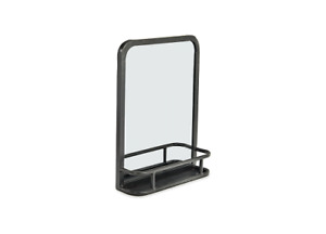 Small Stylish Industrial Iron Mirror With Shelf by Nkuku