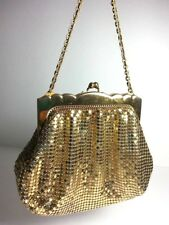 ANTIQUE MESH WHITING &DAVIS MADE IN USA LADIES EVENING BAG GOLD TONE TUCK STRAP