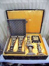 Yi Lin Art & Treasures of China 5pc Black Dragon Candle Holder Set W/ Silk Box