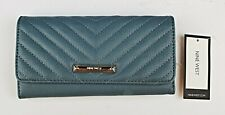 *Nine West Womens Blue Trifold Wallet and Checkbook Cover