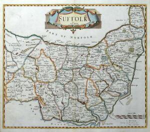 SUFFOLK, Robert Morden, original antique hand coloured map 1722