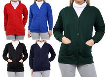 KIDS Girls School Fleece Cardigan Button jumper Sweatshirt Top  Age 5-14 years