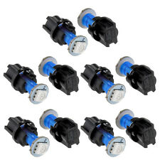 10pc 74 T5 LED Twist Socket Blue Instrument Panel Cluster Plug Dash Light Bulbs