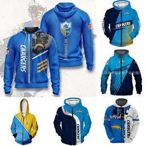 Los Angeles Chargers Hoodie Full-zip Hooded Loose Fit Jacket Coat Sweatshirt Top