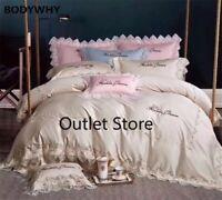Lace Ruffle Floral Duvet Cover Set Bed Sheet Egyptian Cotton Bedding Sets 4 Pcs