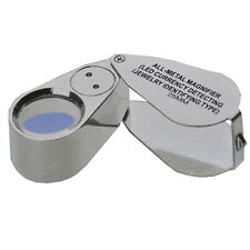 40X Metal 25mm Magnifying Loupe Jeweler LED UV Glass Lens Jewelery Magnifier Ban
