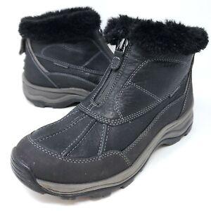 Clarks Women's Black Leather Ankle Boots Faux Fur Front Zip Winter Booties 9.5 M