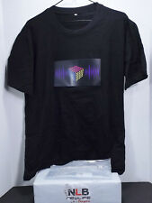 Sound Activated Light Up T-Shirt Rubik's Cube Black Size XL FLASHING MUSIC WEAR