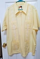 The Genuine Haband Guayabera Cuban Cigar Zip up Yellow Shirt Size XL X Large