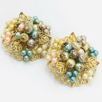 """Vintage Faux Pearl Gold Filigree Clip Earrings Round Pastel Floral 1.5"""""""