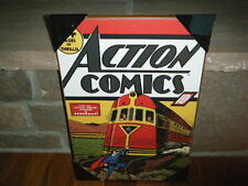 "JUNE 1939 VINTAGE ACTION COMICS #13 SUPERMAN WOOD WALL PLAQUE  13"" X 19"" RARE"