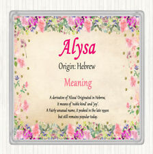 Alysa Name Meaning Drinks Mat Coaster Floral