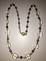 Antique Glass Bead Necklace with Spring ring Clasp fastening