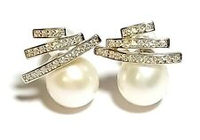 Stunning Stylish White Round 8 - 8.5mm Cultured Pearl Classic Stud Earrings