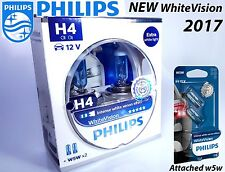 NEW H4 Philips White Vision + 60% More light 12342WHVSM 12V P43t-38 + Blue W5W