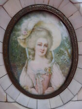 Schöne,alte Miniatur__Portrait einer adligen__Lupenmalerei__!