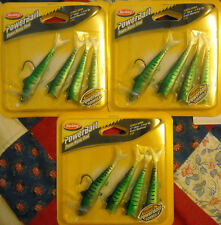 3 Packs Berkley Power Manic Shad- Green Mackerel color- Power Bait- Soft baits