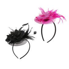 2pcs Vintage Feather Headband Fascinator Veil Hat Wedding Bridal Headdress