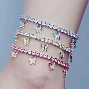 1pc Womens Ankle Bracelet Butterfly Silver Gold Plated Anklet Foot Chain Beach