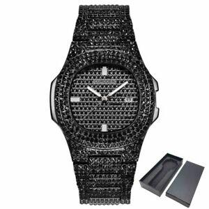 Bling Diamond Cut Glass Watch Quartz Stainless Steel Unisex Gift Shine Wrist Ice