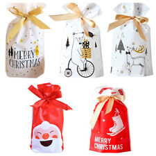 10PC Merry Christmas Candy Gift Bags Xmas Santa Cookies Pouches New Year Decor