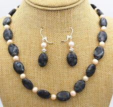 Natural Black Gray Labradorite Gems oval + akoya Pearl Necklace Earrings Set