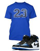 "23 Royal Game Tee Shirt To match Air Jordan 1 ""Royal Toe"" Shoe Mens Pro Club Tee"