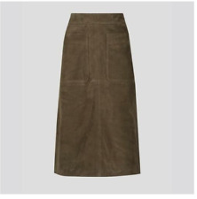 NEW LADIES LUXURY SUEDE MIDI SKIRT AUTOGRAPH MARKS & SPENCER FULLY LINED OLIVE