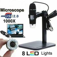 8LED 1000x 2MP USB Digital Microscope Endoscope Magnifier Camera with Lift Stand