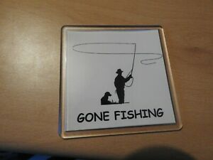GONE FISHING DRINKS COASTER FOR THE FISHER MAN/WOMAN THAT HAS EVERYTHING