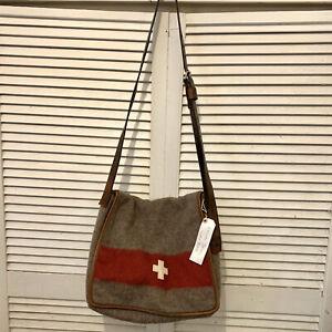 Vintage Swiss Army Karlen Torbel Boiled Wool & Leather XL Messenger Bag