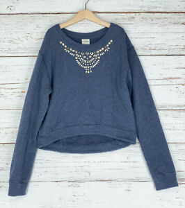 Abercrombie Kids Girls Sz XL Pullover Sweatshirt Navy Blue Embellished Neckline