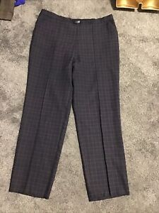 M&S Women's trousers Navy Blue check Pull on Elastic back ,size 16 M