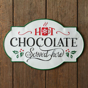 Vintage Distressed Hot Chocolate Served Here Wall Sign